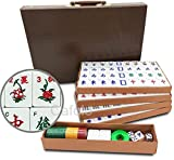 """cafolo Chinese Mahjong X-Large 144 Numbered Melamine Tiles 1.5"""" Large Tile with Carrying"""