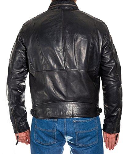 Herren Vintage-Weichwachs Bikerjacke aus Leder mit Kragen Rei§verschluss Schwarz
