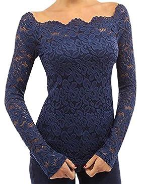 Mujeres Camisetas Manga Larga Blusas de Encaje Flores Lace Crochet sin Tirantes Camisas Shoulder Off Lace Shirt