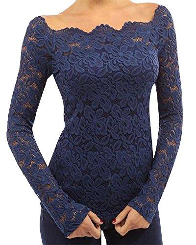 Chemises à Manches Longues Femme Casual Cavalier Longue Blouse Hauts Lâche Shirt Bleu