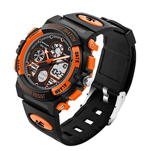 Herrenuhr Sport Luxus Kaltes Licht LED Uhren,Hevoiok Neu Exquisit Wasserdicht Doppelte Anzeige Draussen Elektronik Herren Student Lauf Luminous Armbanduhr (Orange)