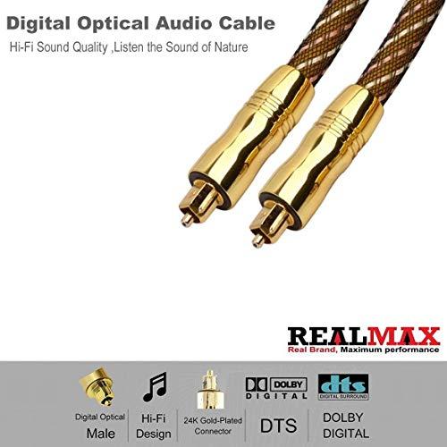 realmax® Nylon Mesh Toslink Kabel 1m 2m 3m 4m 5m 10M DIGITAL OPTICAL AUDIO Gold Premium Qualität unterstützt alle Toslink fähigen Geräte und Gadgets (4 M Digital Optical Audio Kabel)