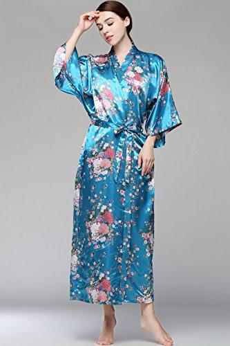 BABEYOND Damen Morgenmantel Maxi Lang Seide Satin Kimono Kleid Blütenkirsche Muster Kimono Bademantel Damen Lange Robe Blumen Schlafmantel Girl Pajama Party 135 cm Lang (See Blau) - 7