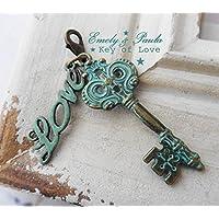 SchmuckAnhänger Schlüssel Love Steampunk victorianisch Patina Liebesschlüssel Valentinstag
