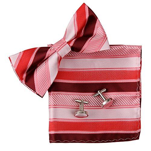BT2073 Red Stripes Perfetto Rack Fantastic Designer Silk Pre-legate Regali cravatte Gemelli Hanky ??Migliore Mens By Epoint