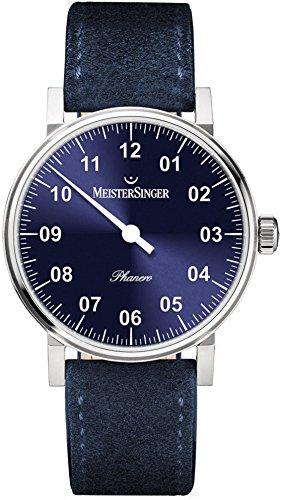 Meistersinger Phanero PH308 - Reloj mecánico Manual de Viento Unisex de una Sola Mano, Esfera Azul analógica de 35 mm, Correa de Piel de Ante Azul, Reloj Hecho en Suiza para Hombres o Mujeres