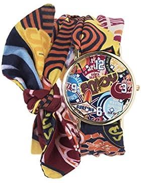 Souarts Damen Armbanduhr Karikatur Muster Schleife Schal Band Deko Uhr mit Batterie