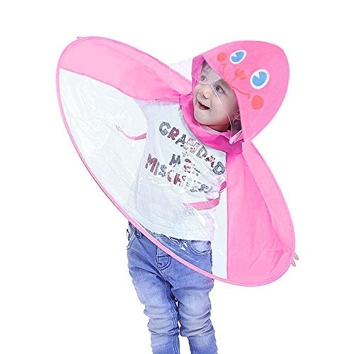 BaojunHT New Kids UFO Shape Raincoat Cute Cartoon Character Children Foldable Portable Hooded Poncho Cloak Plus Size S-L