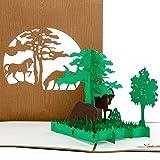 3D Pop Up Karte Pferde - Pferdekarte, 3D Karte für Pferdeliebhaber, Geburtstagskarte, Einladung & Gutschein Reiten