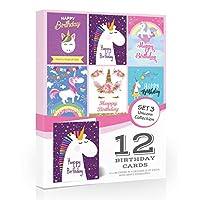 12 x Unicorn Birthday Cards - Value Pack by Olivia SamuelTM. Fun Unicorn Designs with Envelopes