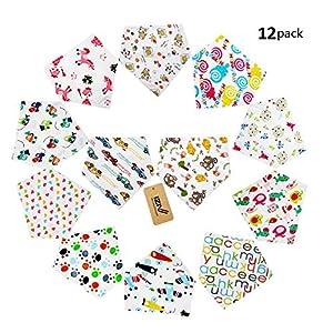 iZiv(TM) Baberos del Bebé - Paquete de 12 Diseños Pañuelo con Snaps Ajustables, Forro Suave para niño 0-2 años (Color-1) 11