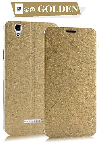 Original Pudini® Golden colour Yusi Rain Series Leather Flip Cover Stand Case For Micromax Yu Yureka