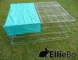 Ellie-Bo zincato coniglio/porcellino/anatra/pollo Enclosure Run con tetto/parasole, 119x 74x 6cm