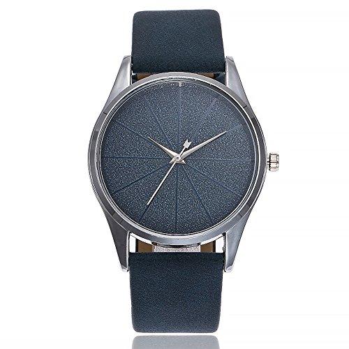 VECOLE Uhren Damen Einfache Casual Voller Diamant Keine Skala Matt Zifferblatt Lederband Uhr Mode Armbanduhr Quarz Analoganzeige Uhr(blau) - Uhren Diamanten Damen Ebel