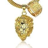 Halukakah KINGS LANDING Hombres 18K Oro Verdadero Plateado León Corona Colgante Collar con Cadena Cola de Tiburón Gratis 30'