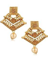 6cdea8de1 Meenaz Temple Jewellery Sets Traditional Gold Pearl Stylish Jhumka/Jhumki  Earrings for women/girls