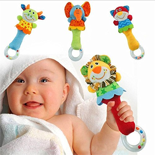 Big Big Xuan Soft Plush Animal Baby Rattle Handbell Toy Take Rattle and Teether Toy Play Toy (multicolor)