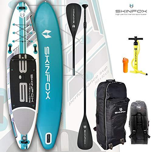 SKINFOX SUP Whale ALU-Set türkis Paddelboard Stand-up aufblasbares SUP Board Board 365x82x15cm (Tragkraft>200 kg) (Board,Bag,Pumpe,ALU SUP-/Kayak Paddel)