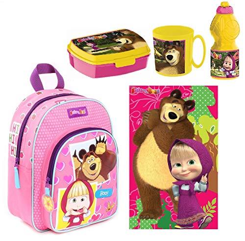 Ltp masha e orso set zainetto zaino soft ,asciguamano, porta merenda scuola asilo tempo libero