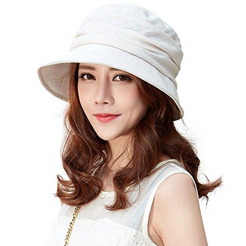 SIGGI Sommerhüte beige Sonnenhut Eimer Hut für Frauen Fischerhüte UV 50+ Schutz verschiedene Farben -
