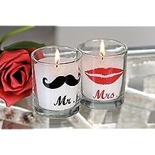 Vela en Mr. & Mrs. de cristal en 2Juego de 5cm de diámetro regalo boda Amor