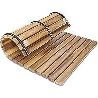 Diseños y Fabricados en Madera Tarima/Alfombrilla FLEXIBLE para ducha y baño, en madera de teca (50 x 100 cm)