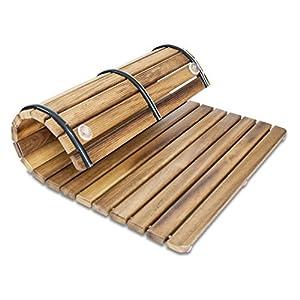 Tarima/Alfombrilla FLEXIBLE para ducha y baño, en madera de teca (50 x 120 cm)