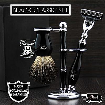 Haryali London Black 3Pc Shaving Kit with 3 Edge Razor, Brush and Stand Perfect Set for Men