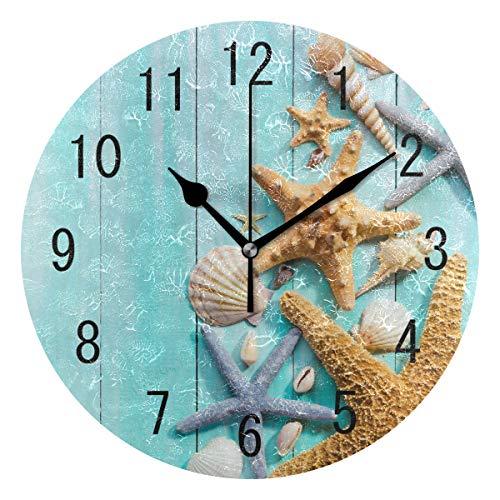 (Use7 Home Decor Wanduhr, rund, aus Holz, mit Seestern im Retro-Stil, Nicht tickend, geräuschlose Uhr, Kunst für Wohnzimmer, Küche, Schlafzimmer)
