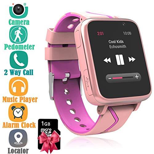 Kind MP3 Telefon Uhr, Kinder Music Smartwatch mit SOS Notruf LBS Positionierung Telefonfunktion Voice-Chat Intelligent Kamera Uhr für Jungen Mädchen Student Geschenk