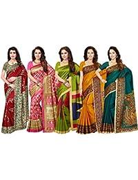 Ishin Combo of 5 Poly Silk Multicolor Printed Women's Saree/Sari With Blouse Piece