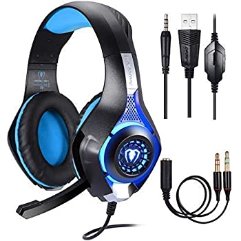 Gaming Headset for Xbox One PS4 Computer, Game Earphone, Samoleus Stereo USB Game Headphones with Microphone,3.5MM JackLED Lighting for Playstation 4, Cellphone, Laptops, Mac, iPad, Smartphone