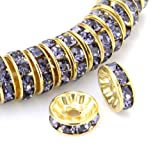 Beadnova Gold Plated Rhinestone Crystal Rondelle Spacer Beads.