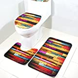 demiawaking 3/Set bedruckt rutschfeste Badezimmer Teppiche Teppich WC-Deckelbezug Badteppich B