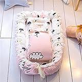 Lvbeis Baby Nestchen Tragbar Quilt/Kopfkissen Abnehmbar Babybett,Rosa