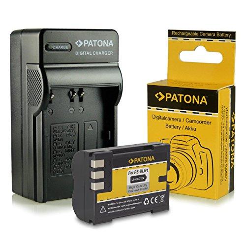 PATONA 3in1 Ladegerät + Akku PS-BLM1 für Olympus C-5060 C-7070 C-8080 Wide Zoom E-1 E-3 E-30 E-300 E-330 E-500 E-510 E-520