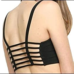 Vinie Women's Cotton Bralette (Removal Pads) (6SB05_Free Size_Black)