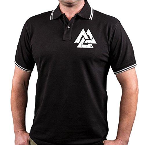 Männer und Herren POLO Shirt Kaffeefahrt nach Walhalla (mit Rückenduck) Größe S - 10XL Schwarz/Weiß