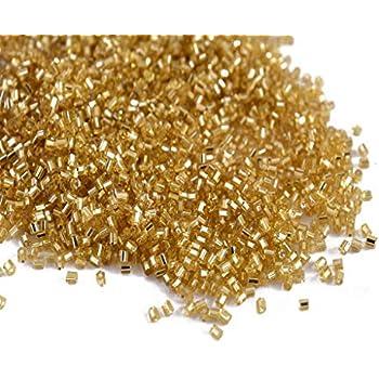 12b60cc2f9 The Design Cart Silverline Golden 2 Cut Beads/Glass Seed Beads (8/0 ...