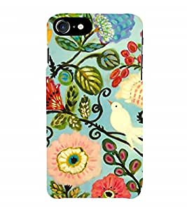 Fuson Designer Back Case Cover for Apple iPhone 7 Plus (Logo View Window Case) (Pigeon Bird Flowers Leaves Buds)