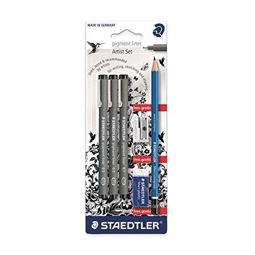 Preisvergleich Produktbild Staedtler 308 SBK3P Artist Set 3 Pigment Liner 0.3, 0.5, 0.7 und Bleistift, Spitzer, Radierer Gratis, schwarz