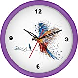 [Sponsored]Story@home 10-inchRound Shape Wall Clock With Glass For Home / Kitchen / Living Room / Bedroom (Purple Frame)
