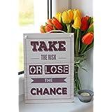 Riskiere etwas oder verliere die Chance Inspirierende Zitat Tafel, wanddekoration – Wohndekor, Wandtafel, hängendes Holzschild