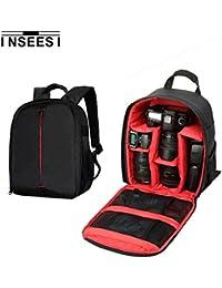 Kilos inseesi Processional mochila para cámaras réflex SLR bolsa de la cámara para Canon para Nikon para Sony Durable Impermeable 600d bolsa de nylon para cámaras (6.88* 4,9* 13.38in) (red1)