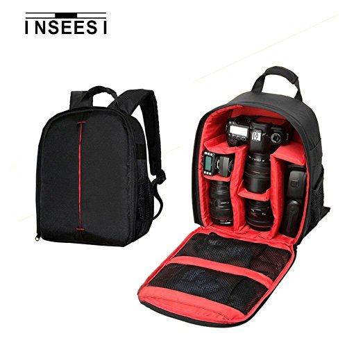 chili Inseesi Processional zaino per fotocamere SLR per Canon per Nikon per fotocamere Sony durevole impermeabile 600D Nylon bag (6.88* 4.9* 13.38in) (RED1)