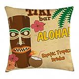 Abakuhaus Tiki-Bar Kissenbezug, Alte Statuen Getränk Aloha! Zitat, 40 x 40 cm, aus Stoff Wasser und Schmutz Resistent Druck Für Den Innen Oder Außen Bereich, Mehrfarbig