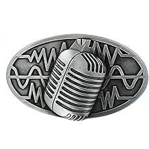 b21e81f3bc95ae eeddoo® Gürtelschnalle - Mikrofon (Buckle für Wechselgürtel für Damen und  Herren | Belt Frauen