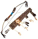 Confettery - Hochwertiger Bogen Pfeile Indianer Kostüm Indianerkostüm Waffe mit Perlen Federn Fellbesatz, Braun