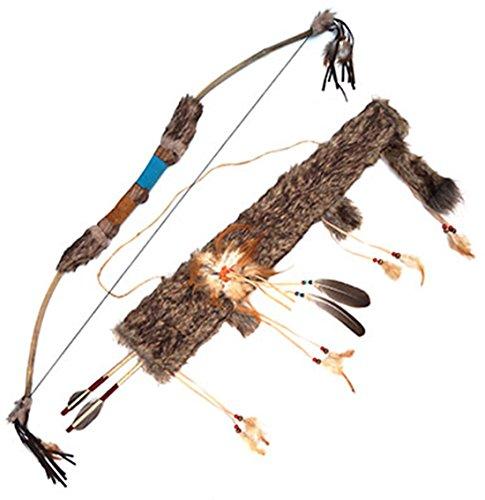 Confettery - Hochwertiger Bogen Pfeile Indianer Kostüm Indianerkostüm Waffe mit Perlen Federn Fellbesatz, Braun (Old Weste West)
