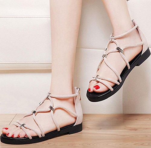 Flache Sandalen weiblichen Studenten weibliche Sandalen Sommer Sandalen Frauen Beige